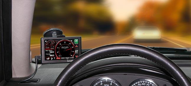Banks iQ mounted on windshield