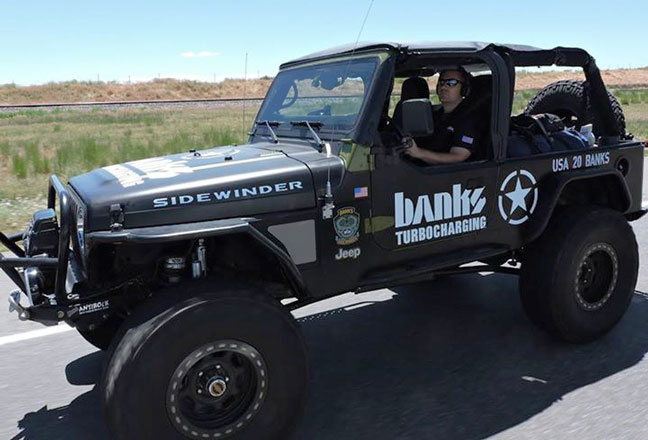 On the road with the Banks Sidewinder Turbo Jeep