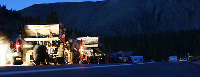 With temperatures in the low to mid 40s the team sets up a temporary pit location on the side of the road just below the ranger station at Glen Cove. At 3:30 AM it is yet another early morning start for the small team of hot-rodders determined to be the best on the mountain come Sunday!