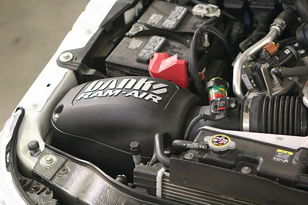 Banks cold air intake in a 2011 Ford Power Stroke 6.7L